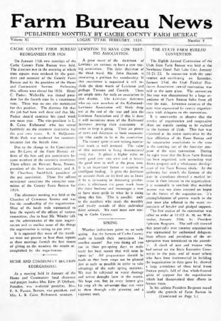 Farm Bureau News, Cache County, Volume XI, Number 9, February 1926