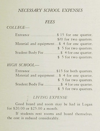 Page from BYC 1923 Catalogue noting Necessary School Expenses