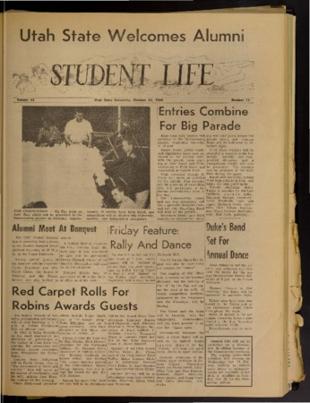 """Six pages from the """"Student Life"""" newspaper, October 23, 1964"""