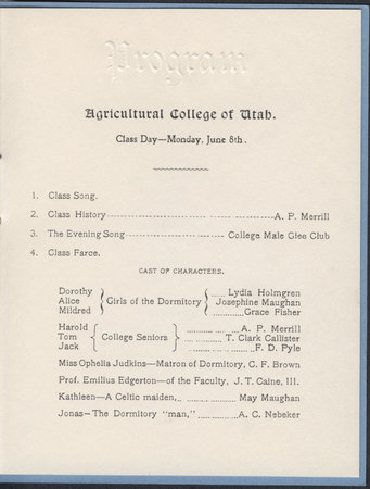 1903 UAC Commencement Program Page 1