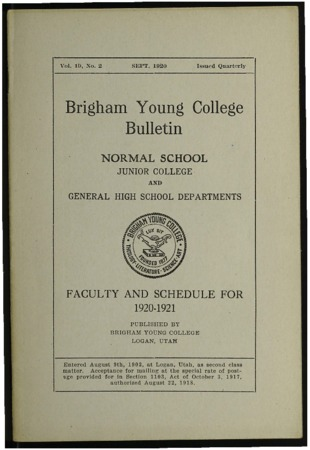 Brigham Young College Bulletin, September, 1920