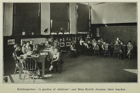 Kindergarten class with Miss Myrtle Jacques