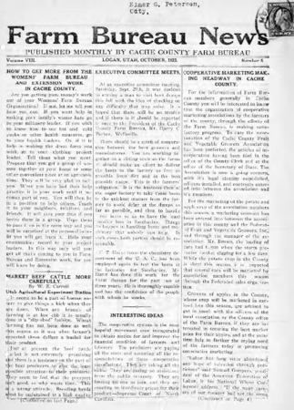 Farm Bureau News, Cache County, Volume VIII, Number 5, October 1923
