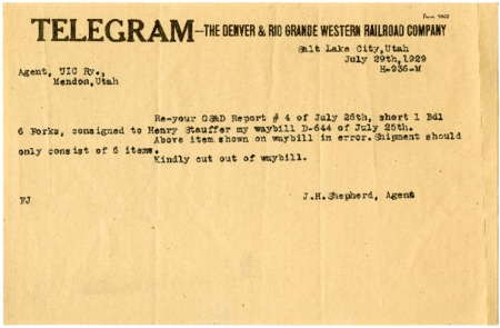 Telegram Correspondence between D. & R.G.W. Railroad and U.I.C., 1929<br />