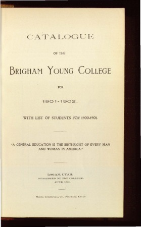 Catalogue of the Brigham Young College for 1901-1902